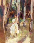 Fine Art - Painting, American:Contemporary   (1950 to present)  , Neil Boyle (American, 1931-2006). Lady in Woods. Oil oncanvas. 30 x 24 inches (76.2 x 61 cm). Signed and inscribed lowe...