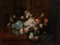 Fine Art - Painting, European:Antique  (Pre 1900), After Gustave-Émile Couder. Floral Still Life with Cat, circa 1873. Oil on canvas. 30 x 40 inches (76.2 x 101.6 cm). Sig...