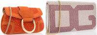 Dolce & Gabanna Set of Two; Pink & Silver Crystal, Suede and Python Clutch Bag and Orange Crystal & Suede Cl...