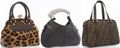 Luxury Accessories:Accessories, Set of Three Handbags; Fendi Classic Zucca Monogram Canvas Totewith Silver Hardware, Celine Brown Leopard Print Ponyhair and ...(Total: 3 Items)