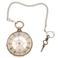 Timepieces:Pocket (pre 1900) , M.J. Tobias 47 mm Sterling Silver Key Wind Pocket Watch. ...