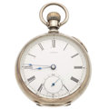 """Timepieces:Pocket (post 1900), """"Home Watch Co."""" 18 Size Key Wind Hunter's Case. ..."""