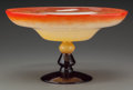 Art Glass:Schneider, A Charles Schneider Mottled Orange and Amethyst Glass Tazza,Epinay-sur-Seine, France, circa 1922. Marks: Schneider,Franc...