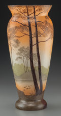 Art Glass:Legras, A Legras Enameled Glass Landscape Vase, late 19th century. Marks:Legras . 14-1/4 inches high (36.2 cm). ...