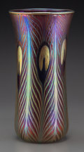 Art Glass:Other , A Charles Lotton Iridescent Ruby and Gold Glass PeacockVase, Crete, Illinois, circa 1993. Marks: Charles Lott...