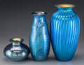 Art Glass:Other , Three Lundberg Studio Iridescent Blue Glass Vases, Davenport,California, circa 1993-1999. Marks to tallest: LUNDBERG STUD...(Total: 3 Items)