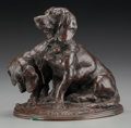 Fine Art - Painting, European, After Emmanuel Frémiet (French, 1824-1910). Young Hounds.Bronze with brown patina. 6 inches (15.2 cm) high. Inscribed o...