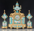 Clocks & Mechanical:Clocks, A Three Piece Napoleon III Sèvres-Style Porcelain and Gilt Bronze Clock Garniture, circa 1870. Marks to mechanism: MF, 714... (Total: 3 Items)