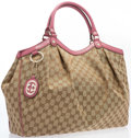 "Luxury Accessories:Accessories, Gucci Monogram Canvas & Pink Leather Sukey Tote Bag with GoldHardware. Excellent Condition. 16"" Width x 13"" Height x 5""W..."