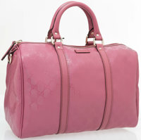 "Gucci Pink Guccissima Leather Joy Boston Bag Medium with Gold Hardware Excellent Condition 12"" Wi"