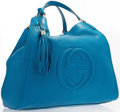 "Luxury Accessories:Accessories, Gucci Blue Leather Soho Hobo Bag with Gold Hardware. Excellent Condition. 14"" Width x 14"" Height x 10"" Width, 10"" Shoulder..."