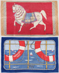 "Luxury Accessories:Home, Hermes Set of Two; Blue & Red Printed Terrycloth Towels. Very Good to Excellent Condition. 36"" Width x 60"" Length. ..."