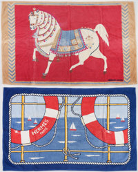 "Hermes Set of Two; Blue & Red Printed Terrycloth Towels Very Good to Excellent Condition 36"" Widt"