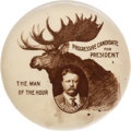 Political:Pinback Buttons (1896-present), Theodore Roosevelt: Real Photo Bull Moose Picture Pin....
