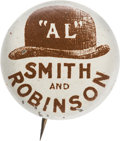 Political:Pinback Buttons (1896-present), Al Smith: Brown Derby Name Pin....