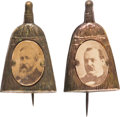 Political:Ferrotypes / Photo Badges (pre-1896), Grover Cleveland and Benjamin Harrison: Whisk Broom Stickpins....(Total: 2 Items)