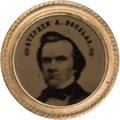 Political:Ferrotypes / Photo Badges (pre-1896), Stephen A. Douglas: Single Portrait Ferrotype Badge....