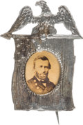 Political:Ferrotypes / Photo Badges (pre-1896), Ulysses S. Grant: Albumen Portrait Flag Pin....