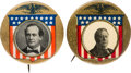 Political:Pinback Buttons (1896-present), William Howard Taft and William Jennings Bryan: Matching Eagle & Shield Buttons.... (Total: 2 Items)