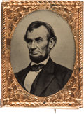 Political:Ferrotypes / Photo Badges (pre-1896), Abraham Lincoln: Gem Ferrotype Badge....