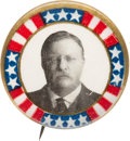 Political:Pinback Buttons (1896-present), Theodore Roosevelt: Graphic Stars & Stripes Picture Pin....