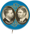 Political:Pinback Buttons (1896-present), Roosevelt & Johnson: Gold Filigree Jugate....