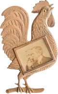Political:Ferrotypes / Photo Badges (pre-1896), Harrison & Morton: Jugate Rooster Badge....