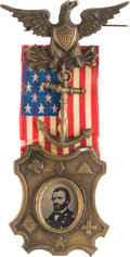 Political:Ferrotypes / Photo Badges (pre-1896), Ulysses S. Grant: Corps Badges Ferrotype....