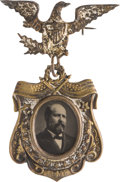 Political:Ferrotypes / Photo Badges (pre-1896), James A. Garfield: Fancy Ferrotype Badge....