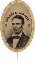 "Political:Ferrotypes / Photo Badges (pre-1896), Abraham Lincoln: ""Belt Buckle"" Ferrotype Stickpin...."