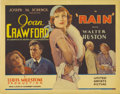 "Movie Posters:Drama, Rain (United Artists, 1932). Title Lobby Card (11"" X 14""). Adaptedfrom W. Somerset Maugham's story ""Miss Sadie Thompson,"" t..."