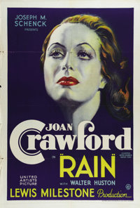 "Rain (United Artists, 1932). One Sheet (27"" X 41""). Joan Crawford looks positively angelic in this beautiful s..."