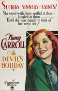"Movie Posters:Drama, The Devil's Holiday (Paramount, 1930). One Sheet (26"" X 40""). NancyCarroll garnered an Oscar nomination for Best Actress fo..."