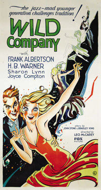 """Wild Company (Fox, 1930). Three Sheet (41"""" X 81""""). A spoiled rich young man (Frank Albertson) becomes a pawn i..."""
