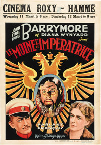 "Rasputin and the Empress (MGM, 1932) Belgian One Sheet (24.5"" X 35""). This was the only film that John, Ethel..."