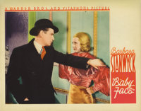"Baby Face (Warner Brothers, 1933). Lobby Card (11"" X 14""). This card featuring a great closeup of Stanwyck was..."