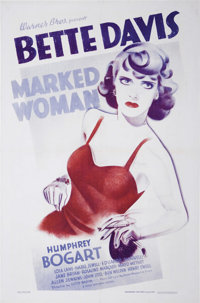 "Marked Woman (Warner Brother-First National, 1937). One Sheet (27"" X 41""). This Warner Brothers' crimer was su..."