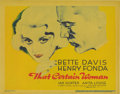 "Movie Posters:Drama, That Certain Woman (Warner Brothers, 1937). Title Lobby Card (11"" X14""). Bette Davis, Henry Fonda, and Ian Hunter star in t..."