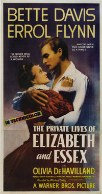 "The Private Lives of Elizabeth and Essex (Warner Brothers, 1939). Three Sheet (41"" X 81""). Based on the stage..."