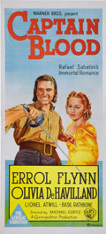 "Movie Posters:Adventure, Captain Blood (Warner Brothers, R-1940's). Australian Day Bill (13""X 30""). Errol Flynn was a young Hollywood unknown when c..."