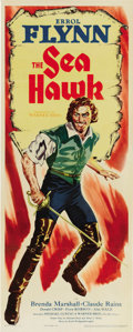 "Movie Posters:Swashbuckler, The Sea Hawk (Warner Brothers - First National, 1940). Insert (14""X 36""). Under the direction of Michael Curtiz, Errol Flyn..."
