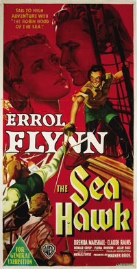 "The Sea Hawk (Warner Brothers - First National, 1940). Australian Three Sheet (41"" X 81""). This spectacular th..."