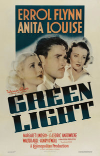 "Green Light (Warner Brothers, 1937). One Sheet (27"" X 41""). Errol Flynn and Anita Louise star in this melodram..."