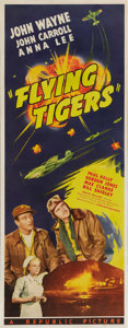"Movie Posters:War, Flying Tigers (Republic, 1942). Insert (14"" X 36""). John Wayne began his series of patriotic WW II pictures with this entry ..."