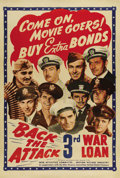 "Movie Posters:War, Back the Attack (War Activities Committee, 1943). One Sheet (27"" X 41""). This patriotic war bonds poster features many of th..."