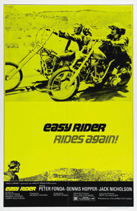 "Easy Rider (Columbia, R-1972). One Sheet (27"" X 41""). This one sheet is very difficult to come by and is the o..."