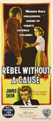 "Rebel Without a Cause (Warner Brothers, 1955). Australian Daybill (13.25"" X 30""). James Dean made his definiti..."