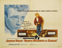 """Rebel Without a Cause (Warner Brothers, 1955). Half Sheet (22"""" X 28""""). James Dean and Natalie Wood star on thi..."""