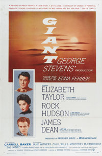 "Giant (Warner Brothers, 1956). One Sheet (27"" X 41""). Tensions between cattle baron Bick Benedict (Rock Hudson..."