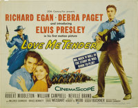 "Love Me Tender (Twentieth Century Fox, 1956). Half Sheet (22"" X 28""). Elvis Presley, Debra Paget, and Richard..."